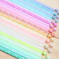 300pcs/lot Luminous Lucky Star Origami handmade paper Materials (Random Color) >>> Click on the image for additional details.