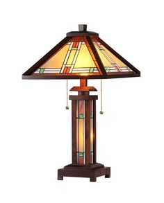Chloe 'AARON' Tiffany-style Mission 3 Light Double Lit Wooden Table Lamp 15' Shade