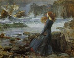 "In my bedroom the print of ""Miranda""   a 1916 oil painting by John William Waterhouse -- my fav!"
