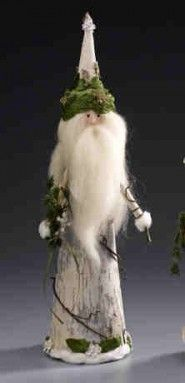 Father Christmas Décor - wintery Santa Claus covered in birch bark