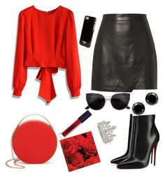 """""""Red outfit"""" by adomrachova ❤ liked on Polyvore featuring Michelle Mason, Chicwish, Christian Louboutin, Eddie Borgo, Givenchy, Garrard, Lipstick Queen and iCanvas"""