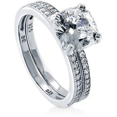 BERRICLE Silver Cushion Cubic Zirconia CZ Solitaire Engagement Ring... (£50) ❤ liked on Polyvore featuring jewelry, rings, 2 piece ring set, clear, women's accessories, wedding anniversary rings, anniversary rings, silver cubic zirconia rings, engagement rings and solitaire engagement rings