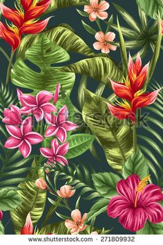 Tropical floral seamless pattern with hibiscus, plumeria and heliconia flowers in watercolor style - stock vector