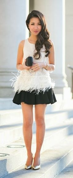 Feathered fringe blouse & Gold pumps