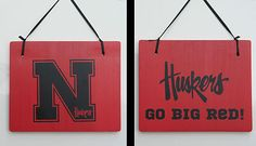 "Red Huskers Go Big Red Double Sided Hanging Wood Sign 11""x9"" Door Yard Garage"