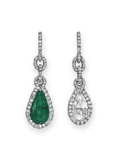 A PAIR OF EMERALD AND DIAMOND EAR PENDANTS, BY JAR