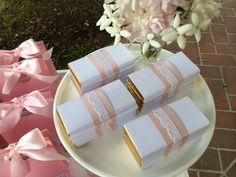 Pretty pink and lace chocolate favours by Sweet Soirees (www.sweet-soirees.com.au)