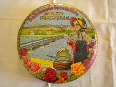 Vintage 1920s Tin Box France Lady with Basket and by MaisonBleue, €18.00
