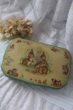 Vintage bunny tin