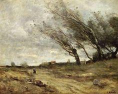 Titre de l'image : Jean-Baptiste-Camille Corot - Le coup de vent