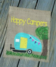 Happy Camper Garden Flag Camping Signs Happy by ModernButterfly