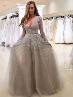 A-Line Deep V-Neck Long Sleeves Grey Tulle Prom Dress with Beading c69734b405291