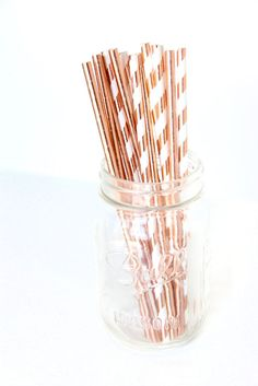 25 Rose Gold foil paper party straws copper wedding baby shower - UK STOCK