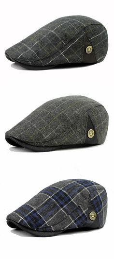 Fall&Winter Outfit: Male Wool Blend Grid Beret Cap