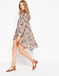 Influence Long Sleeved Floral Shirt Dress