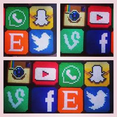 Social media perler bead coasters by CorsPlasticSmores make for Courtney Hama Beads, Fuse Beads, Melty Bead Patterns, Beading Patterns, Crafts To Make, Fun Crafts, Whatsapp Logo, Pixel Beads, Bead Art