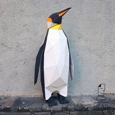 You can make your own penguin sculpture!  Printable DIY template (PDF) contains 13 pages. Use 160-240 g/m2 colored paper. Sizes of sculpture - 50х20х20 cm (A4) or 70х25х25 cm (A3). I would rather recommend using A3. If you need another size of finished sculpture, just change print scale and size of paper.  Check out our tutorials on youtube.com/channel/UCTO0rWB3sQv161fWv0yG79Q. More photos on www.behance.net/alisa_slonishyna and instagram.com/explore/tags/wastepaperhead.  Please, dont share…