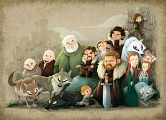 Fantastic Cartoon Illustration of House of Stark... | Game of Thrones Fan Art