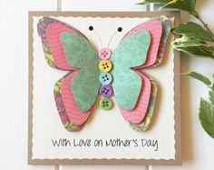 Mother's Day Card Mothering Sunday 3D Butterfly by LottieandLois