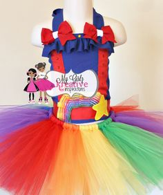 Rainbow Brite (12mos-5T) Tutu Outfit - Circus - Carnival - Clown - Candy Land - Birthday Party - Pageant. $60.00, via Etsy.