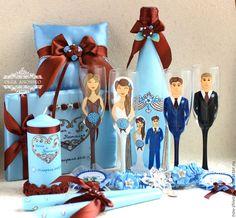 Купить Свадебный набор для шоколадно-голубой Свадьбы! - свадебный набор, свадебные аксессуары, свадебные бокалы