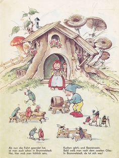 In Brummelstadt / Bild 2 Baumgarten, Elves And Fairies, Cottage Art, Postcard Art, Children's Book Illustration, Art Drawings Sketches, Whimsical Art, Amazing Art, Illustrators