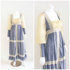 Vintage GUNNE SAX Black Label dress 1960s. Maxi length prairie dress. Chambray blue, cream lace trim, sheer mutton sleeve.