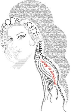 Typography Portrait, Typography Drawing, Typography Design, Typography Quotes, Collage Portrait, Portrait Images, Amy Winehouse, Illusion Pictures, Word Pictures