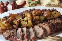 Pork Tenderloin with Herb Roasted Potatoes. Pork is the other white meat besides chicken that is a healthy dinner choice Pork Tenderloin Recipes, Pork Roast Recipes, Meat Recipes, Cooking Recipes, Pork Loin, Oven Recipes, Cooking Time, Healthy Pasta Dishes, Healthy Pastas