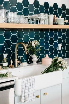 Loving the hexagonal tiles in this rustic influenced kitchen