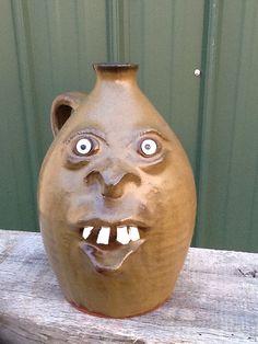 Brown Alabama Face Jug Southern Folk Pottery