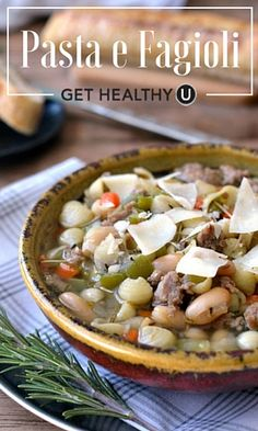 This hearty pasta e fagioli healthy soup recipe has tons of veggies, white beans, and is seasoned with low-fat turkey sausage, making it healthy and delicious meal perfect for a Summer meal.
