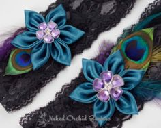 Peacock Wedding Garter Set, Black Lace Garter, Teal Garter, Dark Jade Garter, Purple Garter, Stretch Black Lace Boudoir Garters, Keep-Toss