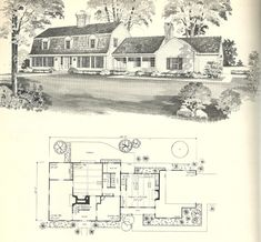 Vintage house plans, gambrel roof, 1970s  DESIGN A 1745