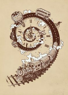 Time Travel Art Print by Enkel Dika Poster S, Poster Prints, Art Prints, Zug Tattoo, Train Tattoo, Marquesan Tattoos, Skeleton Watches, Time Tattoos, Wrist Tattoos