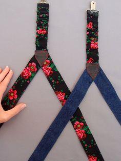 Black Floral Womens Suspenders Reversible Denim Suspenders
