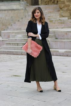 trench largo fluido shein blog moda infrontrowstyle Zara, Two Pieces, Trench, Midi Skirt, Kiss, Chanel, Ootd, Rompers, Chic