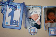 Photo Banner  1st Birthday Boy Blue and Brown Polka by TriplekDZNS, $35.00
