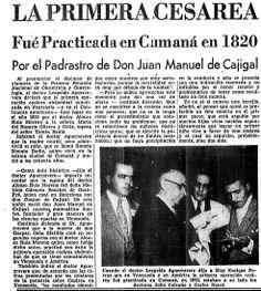 Primera cesárea en Venezuela. Publicado el 8 de diciembre de 1952.