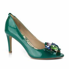 Get the most comfortable and PETA-certified FLORENCE vegan leather peep-toe pump heel with a removable Orchid Brooch and achieve many looks. Free US shipping and returns. Peep Toe Pumps, Pumps Heels, Vegan Shoes, Lush Green, Emerald Green, Vegan Leather, Florence, Patent Leather, Peeps