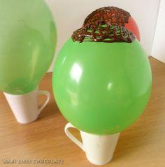 Como hacer nidos de chocolate con globos