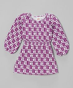 Purple Owl Shirred Dress - Infant, Toddler & Girls #zulily #zulilyfinds