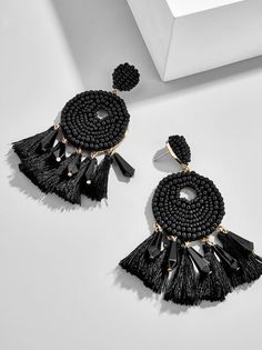 Exhilarating Jewelry And The Darkside Fashionable Gothic Jewelry Ideas. Astonishing Jewelry And The Darkside Fashionable Gothic Jewelry Ideas. Platinum Earrings, Black Earrings, Cute Earrings, Beautiful Earrings, Drop Earrings, Tassel Earrings, Black Jewelry, Gothic Jewelry, Luxury Jewelry