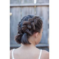 16 Easy And Cute Braided Hairstyles For Short Hair Gurl ❤ liked on Polyvore featuring accessories, hair accessories, short hair accessories and long hair accessories