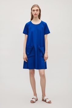 COS image 1 of A-line jersey dress in Cobalt Blue