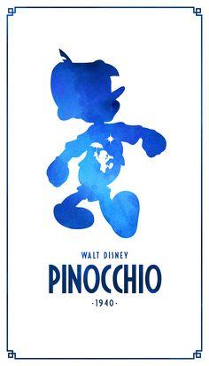 Плакаты знаменитых мультфильмов Дисней с силуэтами героев