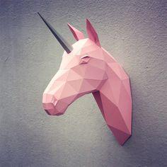 Papercraft unicorn head printable DIY template door WastePaperHead