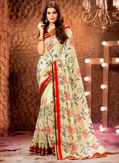 Stylish Cream Printed With Red Patch Border Work Party Wear Saree  http://www.angelnx.com/Sarees