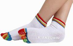 Women's Yoga Socks Five Toes Socks Non-slip Cartoon Socks, White