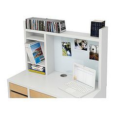 MICKE Add-on unit-high - white - IKEA..I want to head back to IKEA ASAP and pick up the Add-on unit -high for his Micke desk with the matching side cabinet.  Then, we use more vertical space!!